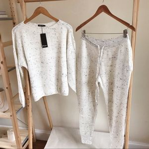 Cozy Speckled Waffle Knit Jogger Set in Cream - M